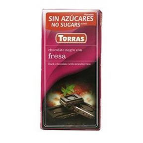 Chocolate Negro con Fresas sin Azúcar Torras 75g