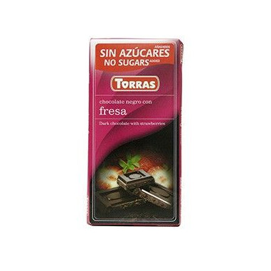 Chocolate Preto com Morangos Sem Açúcar 75g Torras