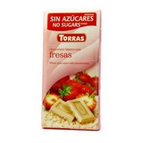 Chocolate Blanco con Fresas sin Azúcar Torras 75 g