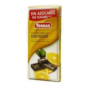 Chocolate Preto com Laranja Sem Açúcar Torras 75 g