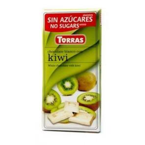 Chocolate Blanco con Kiwi sin Azúcar  Torras 75g