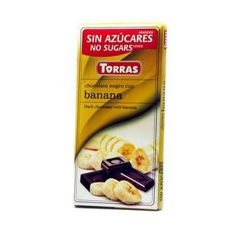 Chocolate Negro con Banana sin Azúcar  Torras 75g