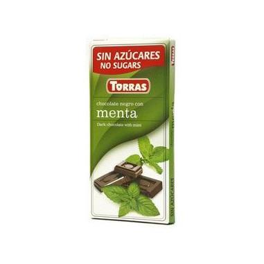 Chocolate Negro con Menta sin Azúcar  Torras 75g