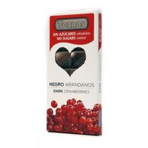 Chocolate Negro con Arándanos enteros sin Azúcar Torras 150 g