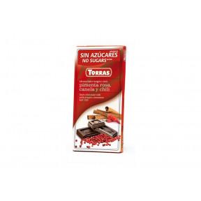 Chocolate Negro con Pimienta Rosa, Canela y Chili Sin Azúcar Torras 75 g