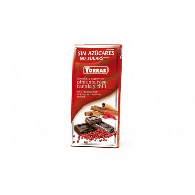 Chocolate Negro con Pimienta Rosa Canela y Chili sin Azúcar  Torras 75g