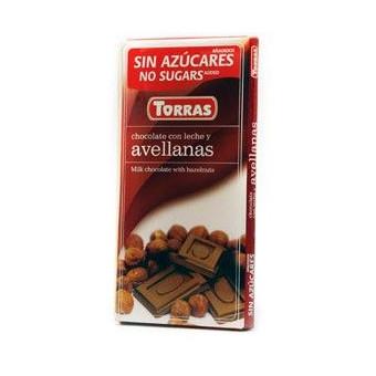 Chocolate con Leche y Avellanas sin Azúcar  Torras 75g