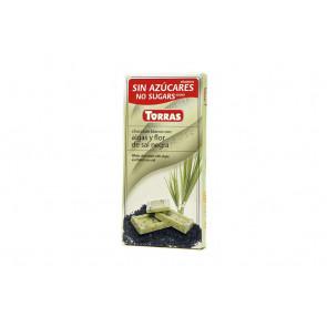 Chocolate Branco com Algas e Flor de Sal Preto Sugar Free Torras 75 g