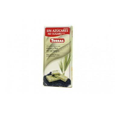 Chocolate Branco com Algas e Flor de Sal Preto Sugar Free Torras 75g