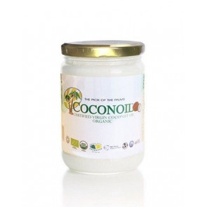500 ml Óleo de Coco Virgem Orgânico Coconoil Organic Recipiente de Vidro 460 g