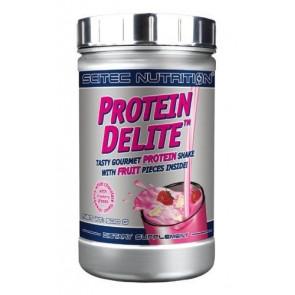 Protein Delite shake de proteína de morango chocolae branco com tropeços Scitec Nutrition