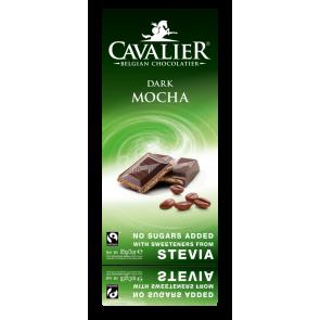 Chocolate Negro Belga con estevia con relleno de Moca 85 g Cavalier