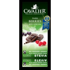 Chocolate preto com estévia e bagas 85 g Cavalier