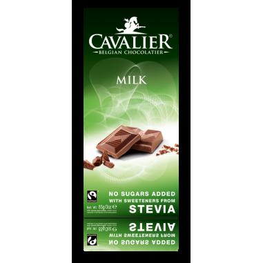 Chocolate com leite Belga com estévia Cavalier 85 g