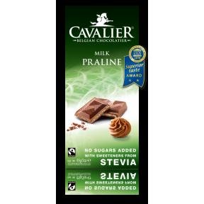 Chocolate Belga com leite e praline com estévia Cavalier 85 g