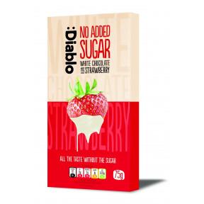 Tableta de chocolate blanco con fresa sin azúcar añadido :Diablo 75 g