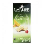 Chocolate Blanco Belga con Mango y Frambuesas con estevia  85 g Cavalier