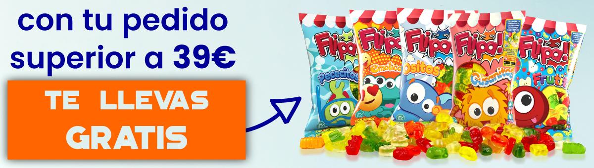 Llévate gratis con tu pedido superior a 39 euros una bolsa de gominolas sin azúcar Flipa de sabores variados