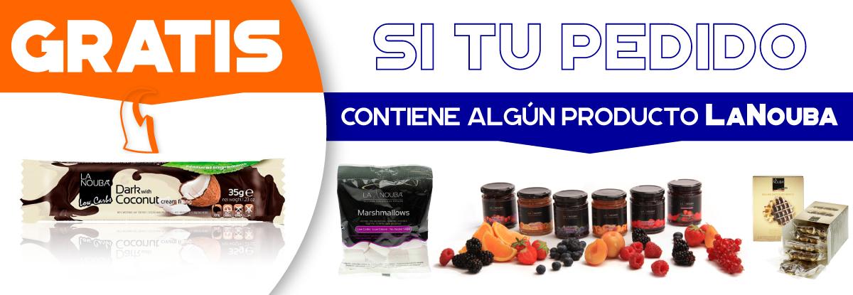Recibes gratis una chocolatina lowcarb rellena de crema de coco con cualquier pedido que contenga algún producto LaNouba