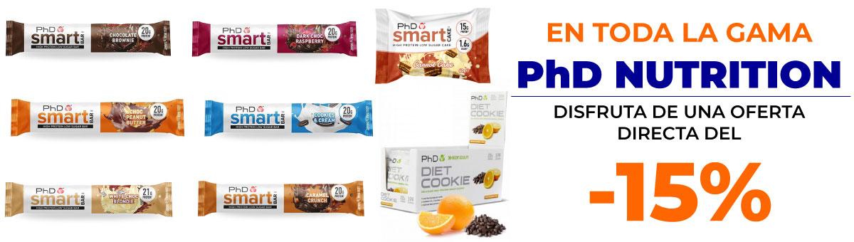 Llévate los productos PhD Nutrition con un descuento directo del 15 por ciento