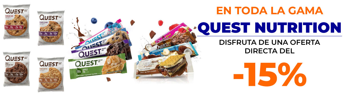 Llévate cualquier producto de la gama Quest Nutrition con un descuento del 15 por ciento