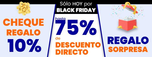 Sólo en el Black Friday tendrás descuentos directos de hasta el 75 por ciento, un cheque regalo del 10 por ciento del valor de tu pedido y además regalo sorpresa seleccionado según tus gustos