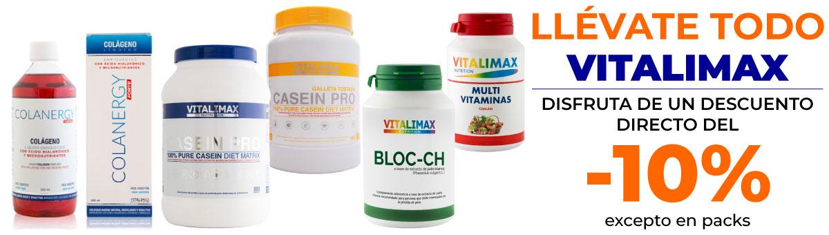 Llévate cualquier producto Vitalimax con un descuento directo del 10 por ciento
